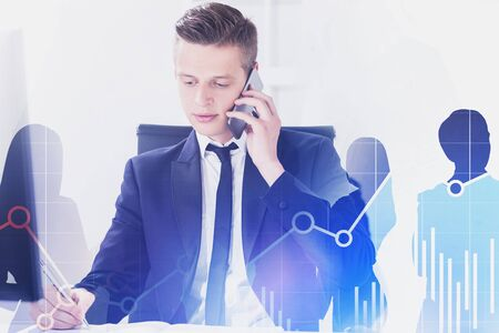 Blond young broker talking on smartphone and taking notes with double exposure of business people and forex graphs. Concept of stock market. Toned image