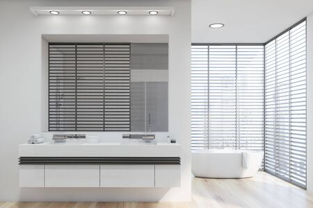 Interior of modern bathroom with white walls, wooden floor, double sink standing on white countertop and comfortable bathtub in background. 3d rendering
