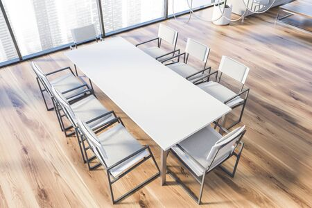 Top view of panoramic office meeting room with cityscape, wooden floor, long white table with white chairs and glass decoration elements. 3d rendering