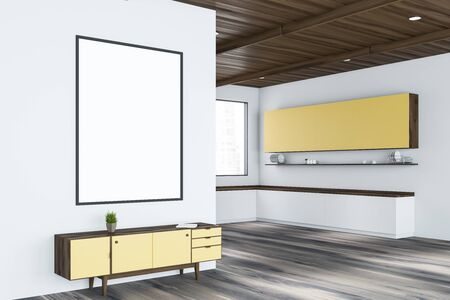 Interior of modern living room with white walls, wooden floor, yellow cabinet with vertical mock up poster and kitchen with white countertops and yellow cupboards. 3d rendering