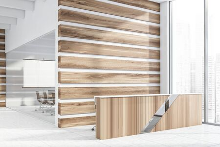 Wooden reception table standing in modern office lobby with wooden and glass walls, tiled floor and meeting room with projection screen in background. 3d rendering mock up