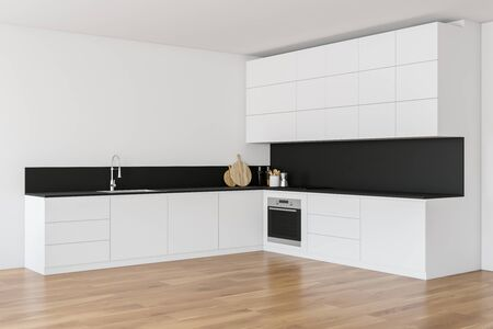Corner of minimalistic kitchen with white walls, wooden floor, white countertops with built in sink and cooker and comfortable white cupboards. 3d rendering Stock fotó