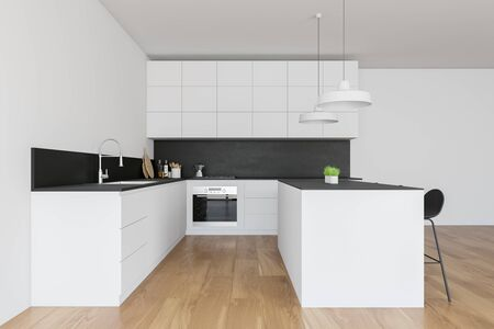 Side view of stylish kitchen with white walls, wooden floor, white countertops with built in sink and oven and white bar with stools. 3d rendering