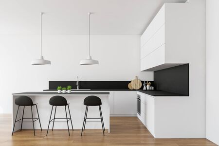 Interior of stylish kitchen with white walls, wooden floor, white countertops with built in sink and oven and white bar with stools. 3d rendering