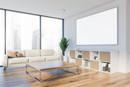 Corner of office waiting room or living room with white walls, wooden floor, beige sofa near panoramic window, square coffee table and horizontal mock up poster. 3d rendering