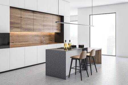Corner of loft kitchen with white walls, concrete floor, white countertops, wooden cupboards, gray island and wooden bar with stools. 3d rendering Stockfoto
