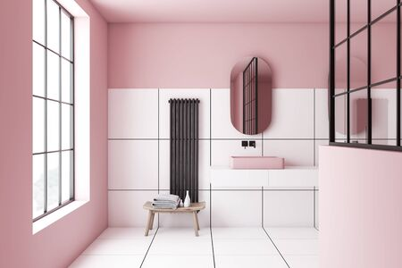 Interior of stylish bathroom with pink and white tile walls, large window and comfortable angular sink on white shelf with oblong mirror above it. 3d rendering