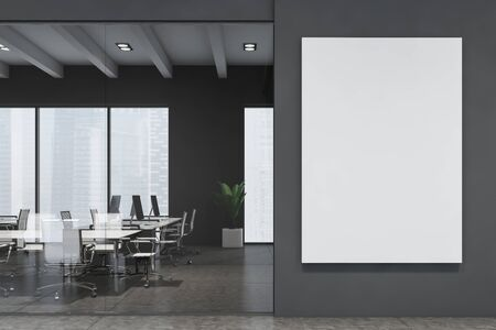 Interior of modern meeting room with gray and glass walls, tiled floor, long white table with chairs and vertical mock up poster to the right. 3d rendering Foto de archivo