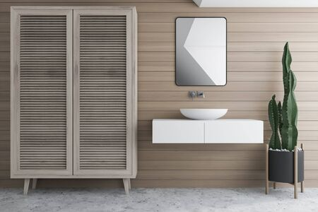 Interior of stylish bathroom with wooden walls, concrete floor, sink standing on white counter with small mirror above it and wooden wardrobe. 3d rendering Stockfoto