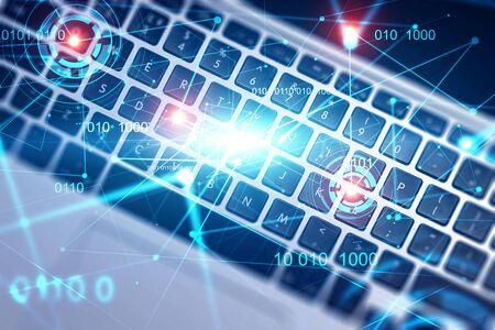 Close up of laptop keyboard with double exposure of HUD interface. Concept of hi tech and telecommunication. Toned image Stockfoto
