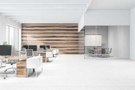 Interior of modern open space office with white and wooden walls, tiled floor, conference room with projection screen and rows of wooden computer tables with black chairs. 3d rendering Stockfoto
