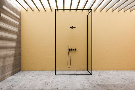 Interior of stylish bathroom with yellow and wooden walls, concrete floor and vertical shower with glass walls. 3d rendering