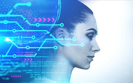 Side view of beautiful young woman with double exposure of planet hologram, circuits and lines of code. Concept of AI and woman programmer. Toned image