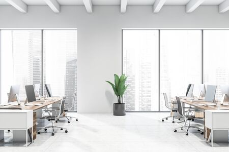 Side view of modern open space office with white walls, tiled floor, windows with cityscape and rows of wooden computer desks with black chairs. 3d rendering Stockfoto