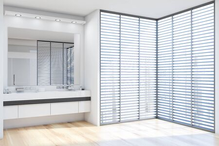Corner of modern bathroom with white walls, wooden floor, double sink standing on white countertop with large mirror above it and windows with blinds. 3d rendering Stockfoto
