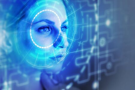 Face of beautiful young caucasian woman with facial recognition and biometric identification interface. Concept of AI and security. Double exposure