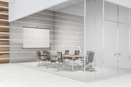 Interior of modern meeting room with white, wooden and glass walls, tiled floor, wooden table with black chairs and mock up projection screen. 3d rendering