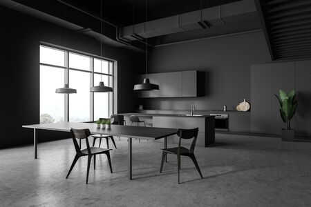 Corner of modern kitchen with gray walls, concrete floor, grey countertops and cupboards, bar with stools and dark gray dining table with chairs. 3d rendering