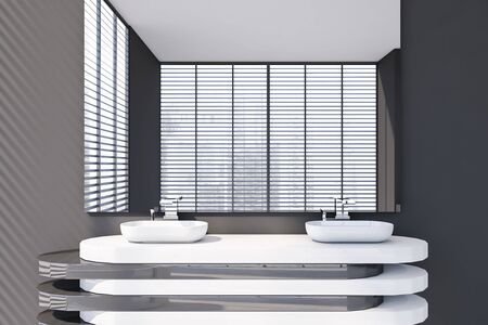 Close up of double bathroom sink standing on stylish white and gray countertop with large mirror above it in room with grey walls. 3d rendering