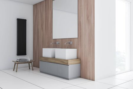 Corner of stylish bathroom with white and wooden walls, tiled floor, large double sink standing on gray and wooden counter with big mirror and chair with towels. 3d rendering Zdjęcie Seryjne