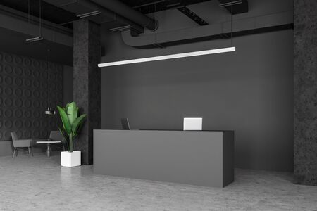 Interior of empty industrial style office with dark gray walls, concrete floor, grey reception desk and waiting room area with round table and comfortable armchairs. 3d rendering