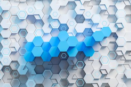 Top view of blue and white hexagons with glowing lights. Abstract background. Concept of art and creativity. 3d rendering