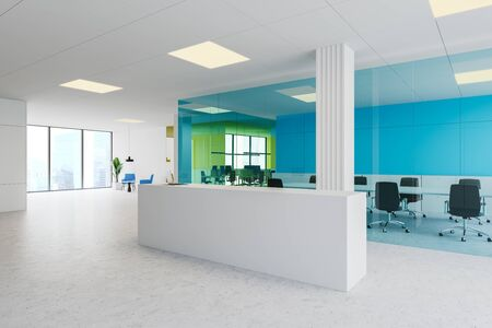 Corner of modern office with blue and yellow glass walls, concrete floor, white reception desk with laptop, meeting room and open space area. Lounge in background. 3d rendering