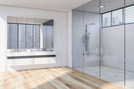 Corner of modern bathroom with white walls, wooden and tiled floor, comfortable double sink standing on white countertop with large mirror and shower with glass doors. 3d rendering Zdjęcie Seryjne