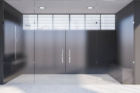 Interior of comfortable bathroom with gray walls, tiled floor and stylish shower behind glass doors. 3d rendering Stok Fotoğraf