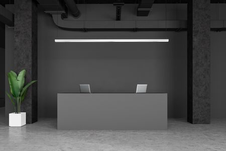 Interior of minimalistic industrial style office with gray walls, columns, concrete floor and simple grey reception desk with laptops on it. 3d rendering