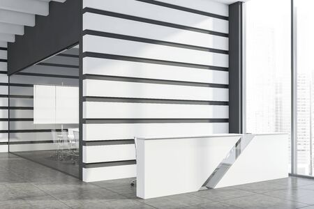 White reception table standing in modern office lobby with gray, white and glass walls, tiled floor and meeting room with projection screen in background. 3d rendering mock up