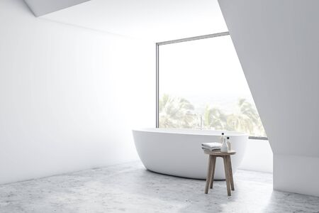 Corner of loft bathroom with white walls, concrete floor and comfortable white bathtub standing near the window. 3d rendering