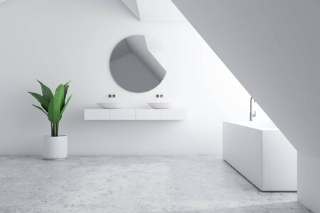 Interior of loft bathroom with white walls, concrete floor, angular bathtub and double sink standing on white shelf with round mirror. 3d rendering Zdjęcie Seryjne