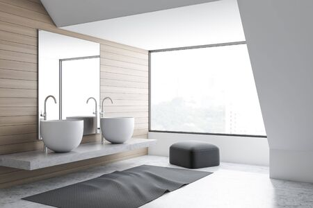 Corner of stylish bathroom with white and wooden walls, concrete floor, double sink standing on stone shelf with mirror and gray pouffe. 3d rendering