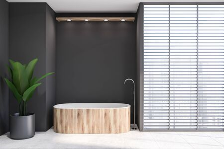 Interior of modern bathroom with gray walls, tiled floor, comfortable wooden bathtub, big potted plant and windows with blinds. 3d rendering