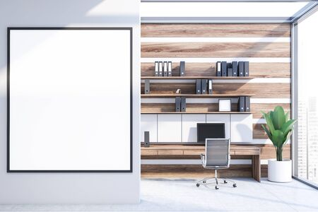 Interior of office workplace with white and wooden walls, concrete floor, wooden computer table with shelves with folders above it and metal chair. Vertical mock up poster frame. 3d rendering Zdjęcie Seryjne