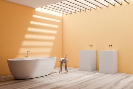 Corner of spacious bathroom with yellow walls, wooden floor, comfortable white bathtub and double freestanding sink. 3d rendering