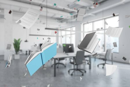 Interior of blurred open space office with flying books and documents. Concept of paperwork overload. 3d rendering