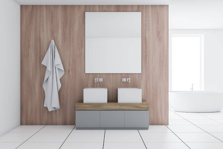 Interior of modern bathroom with white and wooden walls, tiled floor, large double sink on gray counter with mirror above it and comfortable bathtub in background. 3d rendering