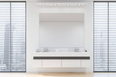 Interior of modern bathroom with white walls, wooden floor, double sink standing on white countertop with large mirror above it and windows with blinds. 3d rendering Zdjęcie Seryjne
