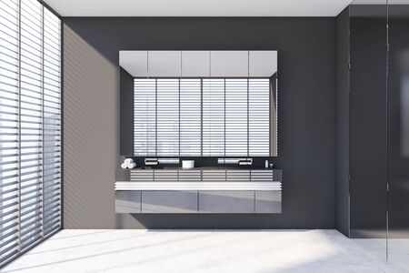 Interior of modern bathroom with gray walls, tiled floor, window with blinds and comfortable double sink standing on glass countertop with large mirror. 3d rendering