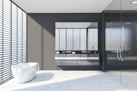 Interior of stylish bathroom with gray walls, tiled floor, windows with blinds, comfortable bathtub, double sink with mirror and shower with glass doors. 3d rendering