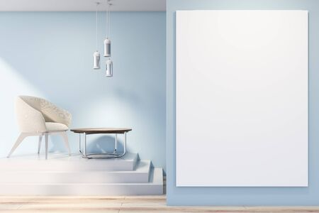 Interior of living room with blue walls, wooden floor, white armchair standing on stairs near round coffee table and vertical mock up poster in foreground. 3d rendering