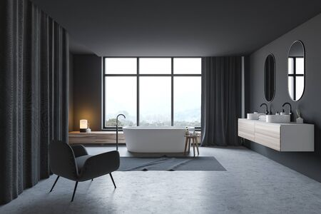 Interior of stylish bathroom with gray walls, concrete floor, double sink standing on wooden countertop, comfortable bathtub and grey armchair. 3d rendering