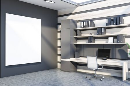 Corner of office workplace with gray and wooden walls, concrete floor, wooden computer table with shelves with folders above it and white metal chair. Vertical mock up poster. 3d rendering