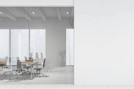 Interior of modern meeting room with white and glass walls, tiled floor, long wooden table with black chairs and mock up wall to the right. 3d rendering