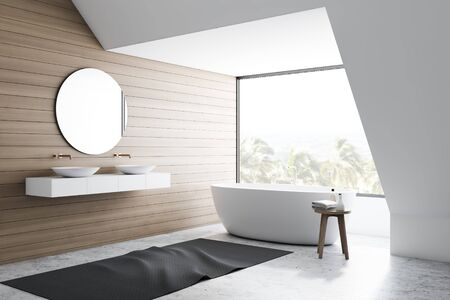 Corner of stylish bathroom with white and wooden walls, concrete floor, comfortable white bathtub and double sink standing on stone shelf with round mirror. 3d rendering