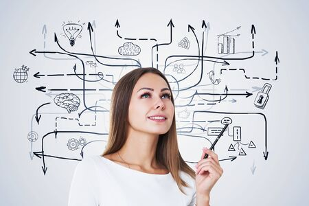 Smiling blonde businesswoman with pen standing near white wall with business plan sketch drawn on it. Concept of business strategy. Zdjęcie Seryjne - 129259954