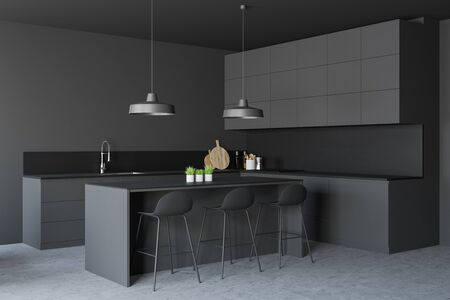 Corner of stylish kitchen with grey walls, concrete floor, gray countertops with built in sink and oven and dark gray bar with stools. 3d rendering Фото со стока