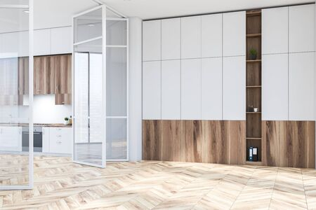 Interior of modern living room with white and wooden bookcase and kitchen with white countertops and wooden cupboards to the left. 3d rendering